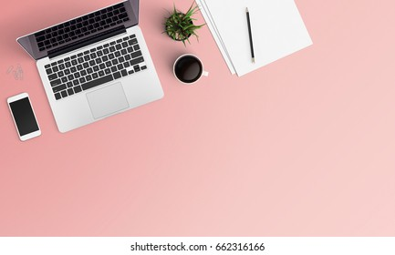 Modern workplace with notebook, coffee cup, tree, smartphone and pencil copy space on color background. Top view. Flat lay style.