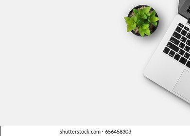 Modern workplace with notebook and little tree copy space on gray background. Top view. Flat lay style.