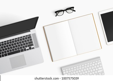 Modern workspace with coffee cup, notebook, tablet and laptop copy space on white color background. Top view. Flat lay style.