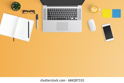 Modern workspace with coffee cup, notebook, smartphone and laptop copy space on orange color background. Top view. Flat lay style.