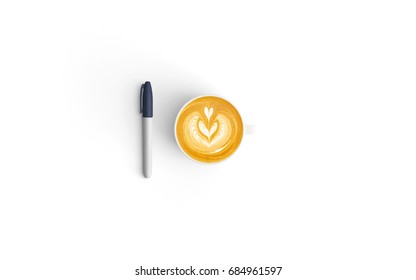 Modern workspace with coffee cup and pen copy space on white color background. Top view. Flat lay style.