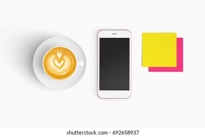 Modern workspace with coffee cup and smartphone copy space on white color background. Top view. Flat lay style.