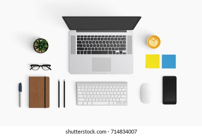 Modern workspace with coffee cup, smartphone, paper, notebook, tablet and laptop copy space on white color background. Top view. Flat lay style.