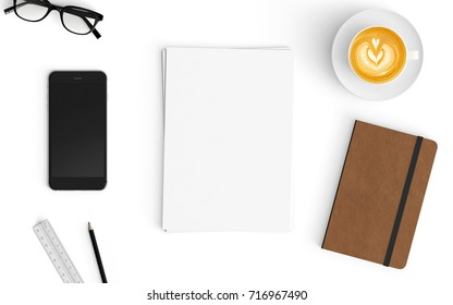 Modern workspace with coffee cup, smartphone, paper and notebook copy space on white color background. Top view. Flat lay style.