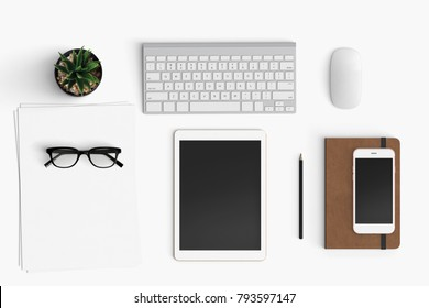 Modern workspace with coffee cup, smartphone and paper copy space on white color background. Top view. Flat lay style.