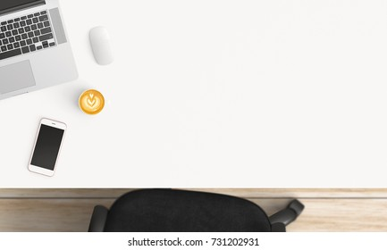 Modern workspace with coffee cup, tablet or smartphone and laptop copy space on white table background. Top view. Flat lay style.