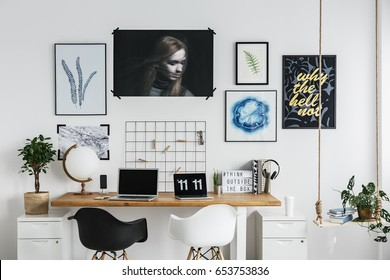 Modern workspace with double desk at home