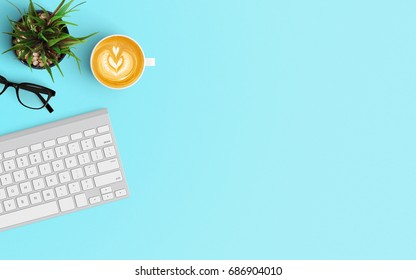 Modern workspace with keyboard and coffee cup copy space on color background. Top view. Flat lay style.