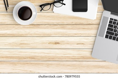 Modern workspace with laptop, coffee cup, eyeglasses and smartphone copy space on color background. Top view. Flat lay style.