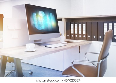 Modern workspace at office. Computer screen on table. Folders on shelf. 3D render. Toned image