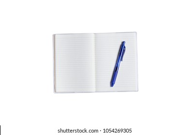 Modern workspace with pens and notebook copy space on white color background. Top view. Flat lay style.