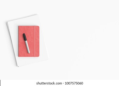 Modern workspace with, paper and notebook copy space on white color background. Top view. Flat lay style.