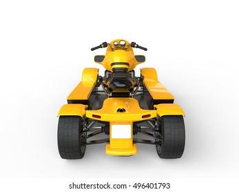 Modern yellow ATV - back view - 3D Render