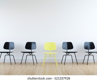 Modern yellow and black chairs in white room interior parquet wood floor.