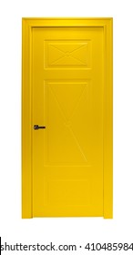Moderne gelbe Zimmertür einzeln auf weißem Hintergrund