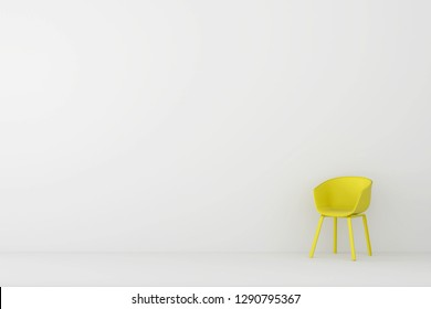 modern yellow sofa in white living room. Minimal style concept. pastel color style.