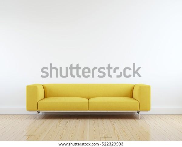 Modern Yellow Sofa White Room Interior | Royalty-Free Stock ...