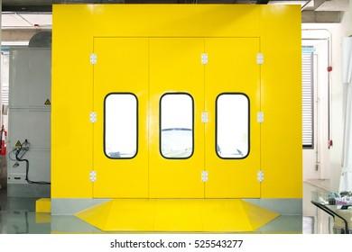 Modern yellow workshop door