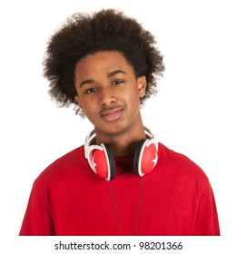 Modern young black boy with headphones in red