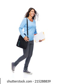 Modern Young female College Student Walking Isolated