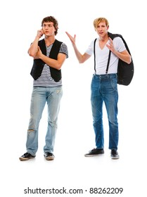 Modern young man dissatisfied with speaking on mobile friend
