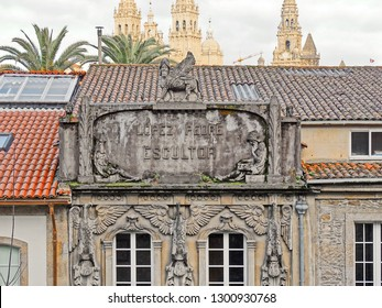 "Modernist house ""López Pedre Escultor"" on Pombal Street, with the sculpture of an Assyrian winged bull-man on top Santiago de Compostela, Galicia, Spain 01/25/2019"