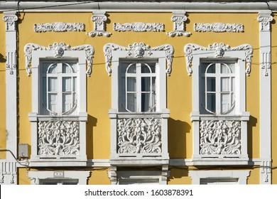 Modernist style facade in the municipality of Sada Sada (Coruna), Galicia, Spain 29/12/2019