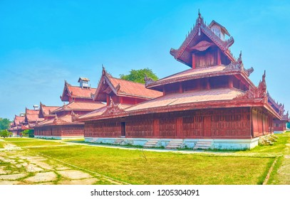 The modestly decorated timber edifices were used for household purpose in Mandalay Palace, Myanmar