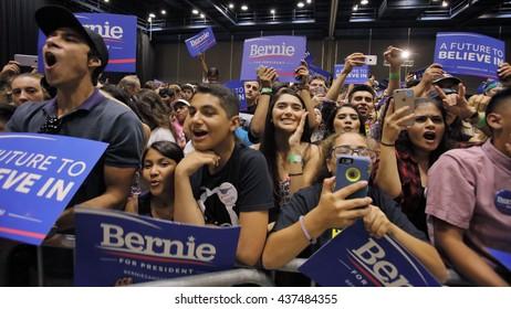 MODESTO, CA- JUNE 02, 2016: Supporters listen to Bernie Sanders a Democrat Presidential Candiate at a rally at Modesto Centre Plaza, Modesto, CA.