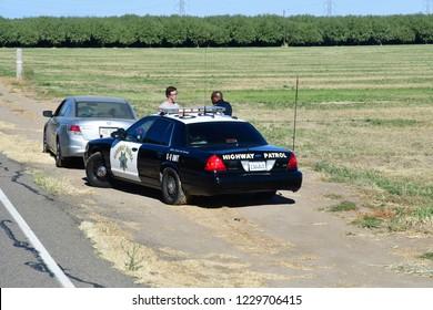 Modesto, California, USA - july 12 2016 : police highway patrol near Modesto area