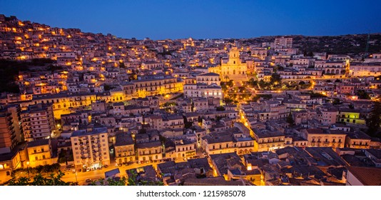 Modica, Italy - July 3 2017: The beautiful evening skyline of Sicilian town, which is famous for the original chocolate recipe.