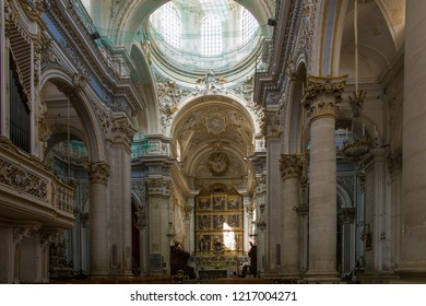 Modica, Italy - July 3 2017: The Cathedral of San Giorgio in the famous old Sicilian town.