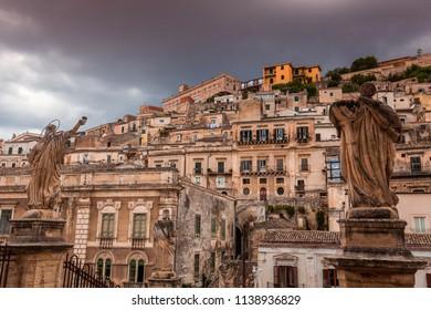 MODICA, SICILY, ITALY, JUNE 19, 2018 : wiew of the baroque city of Modica from the Duomo of san Giorgio, june 19, 2018,  in Modica, sicily, italy