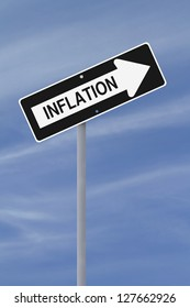A modified one way sign implying increasing inflation (against a blue sky background)