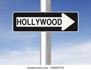 A modified one way sign indicating Hollywood (USA)