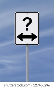 Modified one way sign on decision making or uncertainty (against a blue sky background)