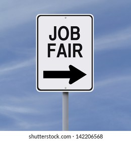 A modified one way sign pointing to a Job Fair