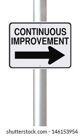 A modified one way street sign on Continuous Improvement
