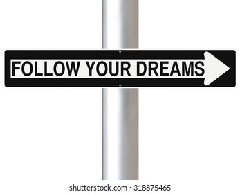 A modified one way street sign indicating Follow Your Dreams