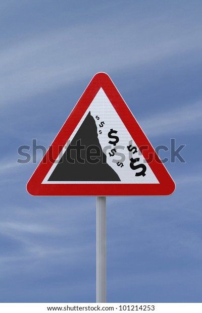 A modified road sign implying the fall or devaluation of the dollar currency. Applicable for business or financial concepts.