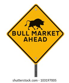 A modified road sign indicating a �bull market� ahead. Isolated on white with clipping path.
