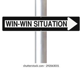 Modified road sign indicating Win-Win Situation