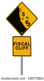 A modified road sign showing the dollar currency falling off a cliff