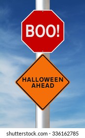 Modified road signs on Halloween