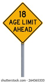 A modified speed limit sign indicating an age limit of eighteen