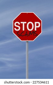 A modified stop sign against scams