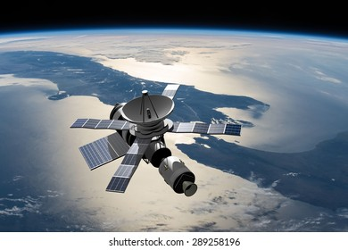 A modified version of Skylab - satellite laboratory for scientific experiments, orbiting over New Zealand - 3D Scene. Elements of this illustration furnished by NASA.
