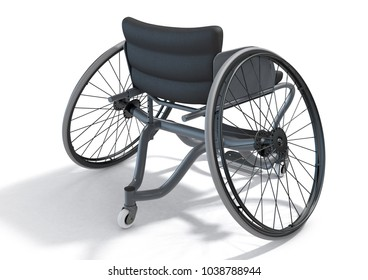 A modified wheelchair used by handicapped athletes to compete in various sporting codes on an isolated background - 3D render