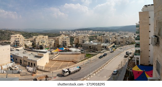 Modi'in Illit, Israel 26-03-2020. Panorama of the city of Kiryat Sefer - Modi'in Illit, Israel
