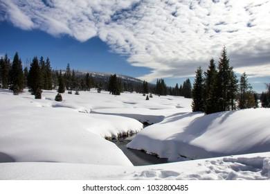 Modrava brook in winter. Brezník, National Park Sumava, Czech Republic.